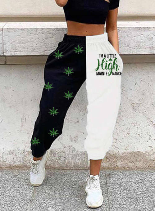 Women's Joggers Color Block Letter Straight High Waist Full Length Casual Joggers