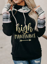 Women's Hoodies Turtleneck Drawstring Letter Zip Long Sleeve Color Block Hoodies