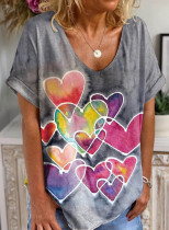 Women's T-shirts Casual Heart-shaped Color Block V Neck Short Sleeve Daily T-shirts