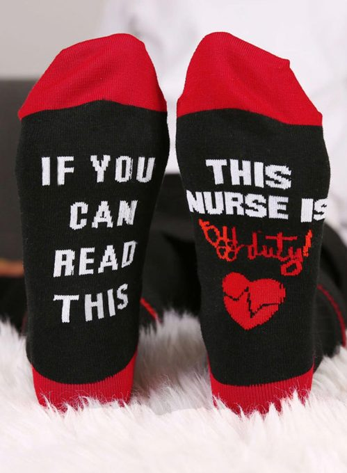 Women's Socks Letter Heart-shaped Print Holiday Cotton Socks