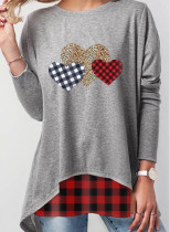 Women's Sweatshirt Round Neck Leopard Plaid Long Sleeves Tunic Sweatshirts