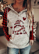 Women's Hoodies Drawstring Long Sleeve Plaid Hoodies With Pockets