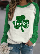 Women's Pullovers Casual Sequin Clover Color Block Round Neck Long Sleeve Daily Pullovers