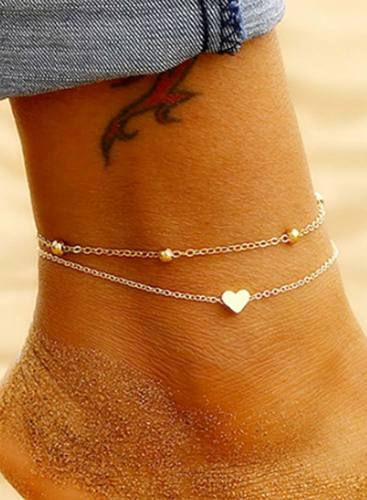 Women's Anklets Double Love Golden Peach Heart Round Bead Anklet