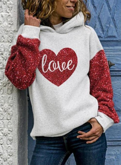 Women's Hoodies Letter Sequin Heart-shaped Color Block Long Sleeve Casual Hoodies