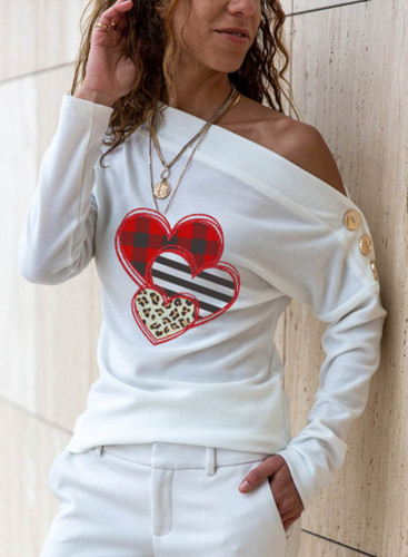 Women's Pullovers Casual Heart-shaped Striped Leopard Button Color Block Off Shoulder Long Sleeve Daily Pullovers
