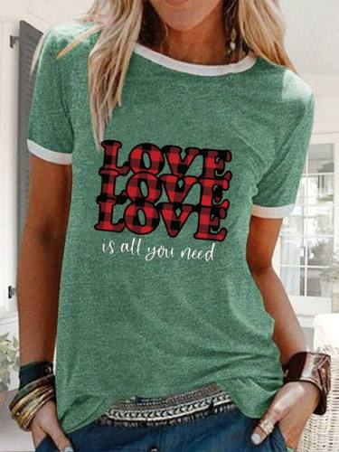 Women's T-shirts Casual Letter Plaid Solid Round Neck Short Sleeve Daily T-shirts
