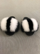 Striped Furry Women Slides Shoes