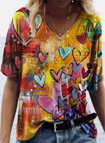 Women's T-shirts Color Block Abstract Heart-shaped Print Short Sleeve Round Neck Daily T-shirt