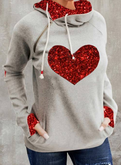 Women's Hoodies Heart-shaped Print Sequin Long Sleeve Daily Hoodie