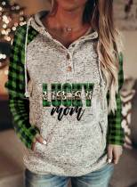 Women's Hoodies Plaid Letter Drawstring Button Long Sleeve Color Block Pocket Hoodies