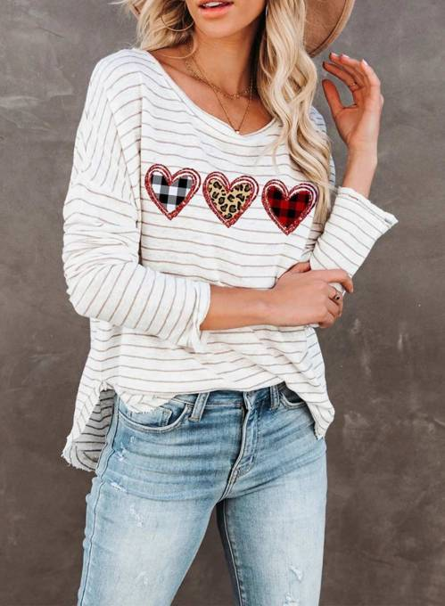 Women's Pullovers Casual Striped Leopard Plaid Cold Shoulder Round Neck Long Sleeve Daily Pullovers