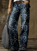 Women's Jeans Straight Tribal Mid Waist Daily Full Length Casual Palazzo Jeans