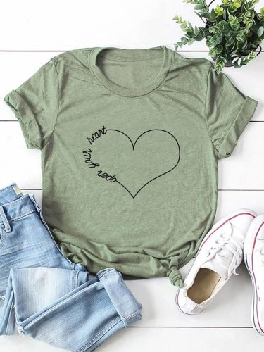 Women's T-shirts Casual Solid Heart-shaped Round Neck Short Sleeve Daily T-shirts