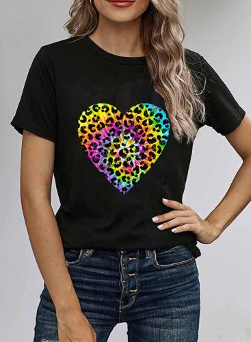 Women's T-shirts Heart-shaped Print Color-block Short Sleeve Round Neck Daily T-shirt