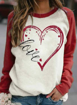 Women's T-shirts Heart-shaped Print Raglan Sleeve Color Block Long Sleeve Round Neck T-shirt