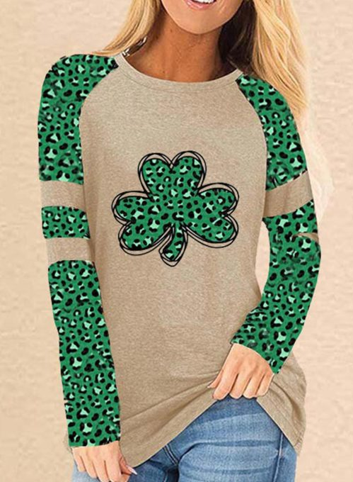 Women's T-shirts Leopard Saint Patrick's Day Print Long Sleeve Round Neck Daily T-shirt