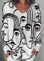 Women's Blouses Abstract Portrait Long Sleeve V Neck Daily Tunic Blouse