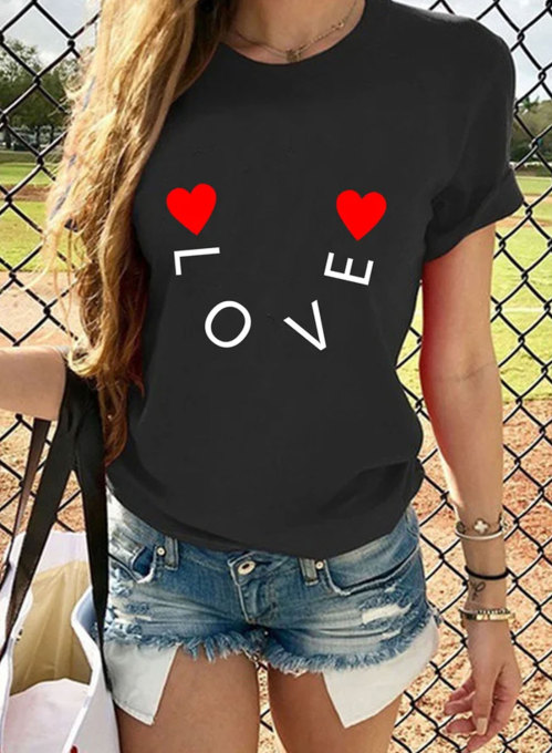Women's T-shirts Letter Holiday Short Sleeve Round Neck 	Daily Date T-shirt