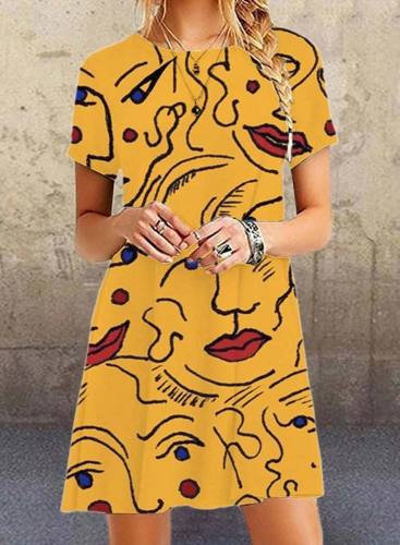 Women's Mini Dresses Abstract Portrait Short Sleeve A-line Round Neck Casual Mini Dress