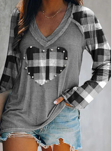 Women's T-shirts Casual Plaid Color Block Heart-shaped V Neck Long Sleeve Daily T-shirts