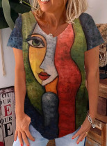 Women's T-shirts Color Block Abstract Portrait Print Short Sleeve V Neck Daily T-shirt