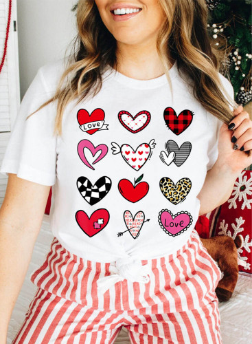 Women's T-shirts Color-block Heart-shaped Print Short Sleeve Round Neck Daily T-shirt