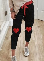 Women's Joggers Heart-shaped Color-block Straight High Waist Ankle-length Sequin Joggers