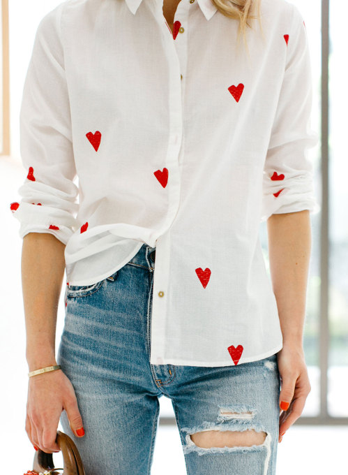 Women's Shirts Heart-shaped Long Sleeve Turn Down Collar Daily Button Shirt