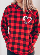 Women's Hoodies Plaid Pocket Long Sleeve Casual Hoodies