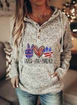 Women's Hoodies Letter Flag Heart-shaped Paw Print Drawstring Button Long Sleeve Color Block Pocket Hoodies