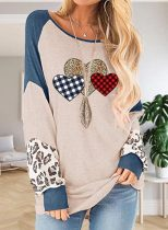 Women's Pullovers Color Block Heart-shaped Leopard Plaid Long Sleeve Round Neck Daily Pullover