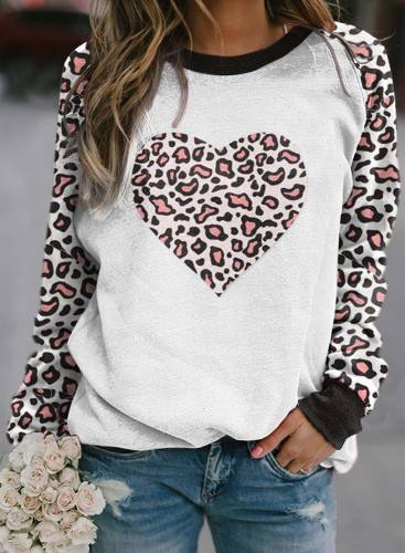 Women's Pullovers Leopard Color Block Heart-shaped Round Neck Long Sleeve Casual Pullovers