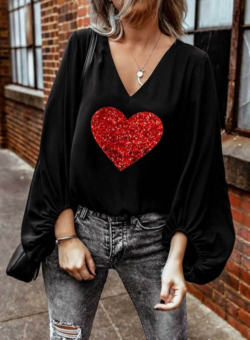 Women's Blouses Color Block Heart-shaped Long Sleeve V Neck Daily Sequin Blouse
