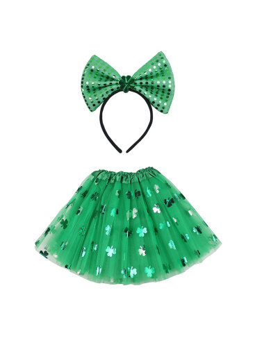Irish Suit Clover Sequined Big Bow Headband St. Patrick's Day Three-layer Veil Skirt