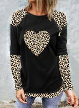 Women's T-shirts Color Block Leopard Print Long Sleeve Round Neck Daily T-shirt