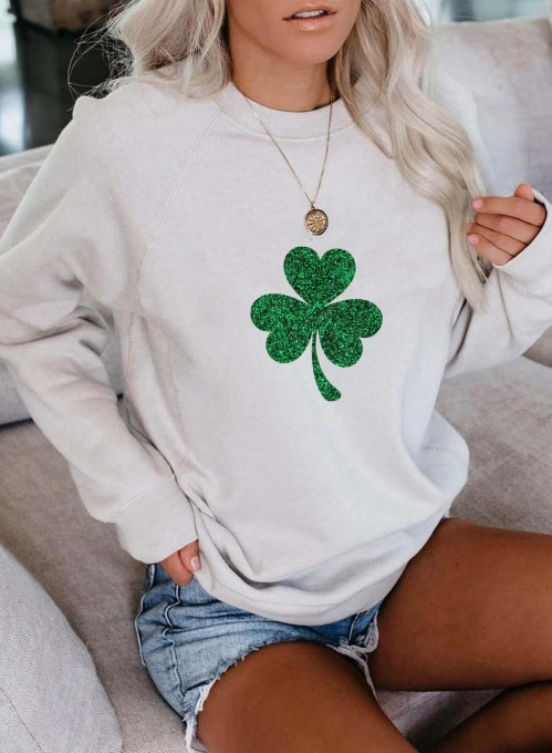 Women's Pullovers Casual Clover Color Block Round Neck Long Sleeve Daily Pullovers