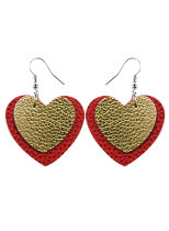 Women's Earrings Heart-shaped Color Block PU Leather Earrings