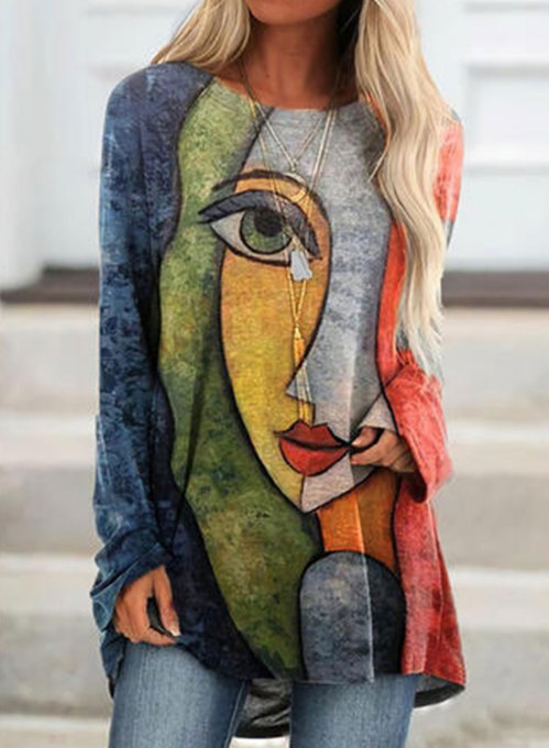 Women's Tunics Abstract Portrait Long Sleeve Round Neck Daily Tunic