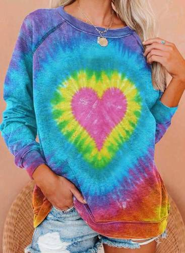 Women's Sweatshirts Color-block Heart-shaped Print Long Sleeve Round Neck Casual Sweatshirt