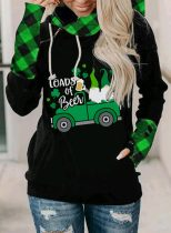 Women's Sweatshirts Plaid Color Block Saint Patrick's Day Long Sleeve Pocket Daily Sweatshirt