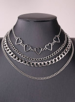 Women's Necklace 4×Piece Love-shaped Solid Alloy Necklace