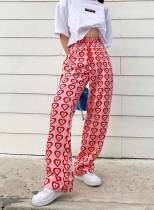 Women's Palazzo Pants Straight Color Block Heart-shaped High Waist Daily Full Length Casual Pants
