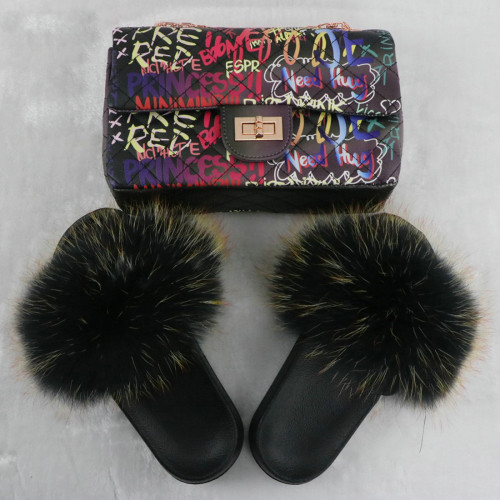Black Fluffy Fur Slides with Matching Graffiti Printed Purse Set