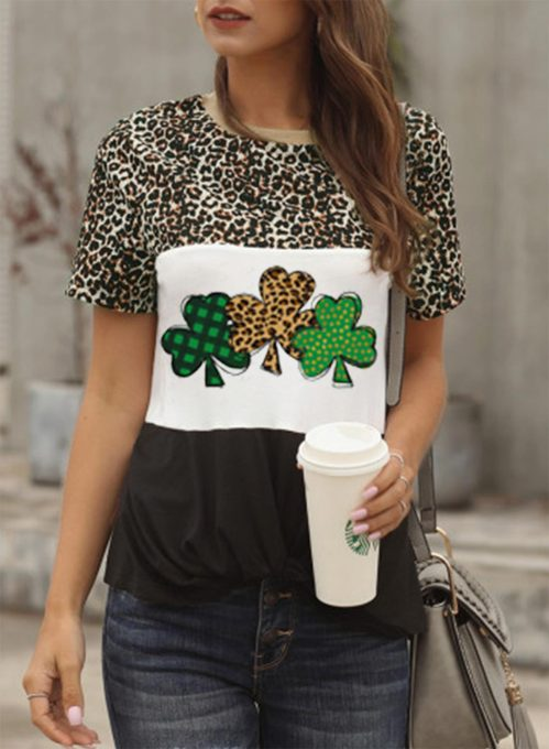 Women's T-shirts Leopard Letter Print Color Block Short Sleeve Round Neck Daily T-shirt