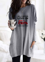 Women's Sweatshirts Round Neck Long Sleeve Solid Letter Casual Pocket Tunics