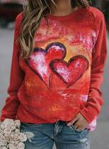 Women's Pullovers Heart-shaped Solid Letter Round Neck Long Sleeve Casual Daily Pullovers