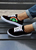 Women's Canvas Shoes Saint Patrick's Day Print Color Block Lace-up Canvas Shoes