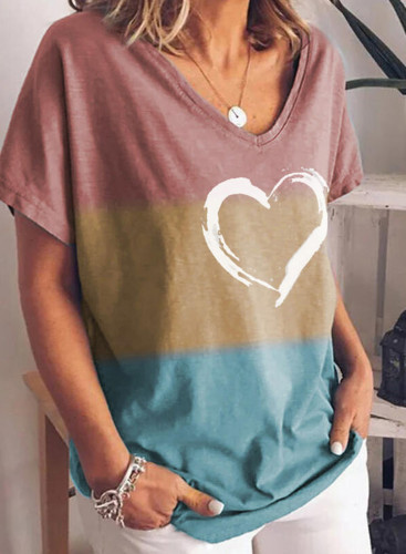 Women's T-shirts Color Block Heart-shaped Print Short Sleeve Round Neck Daily T-shirt