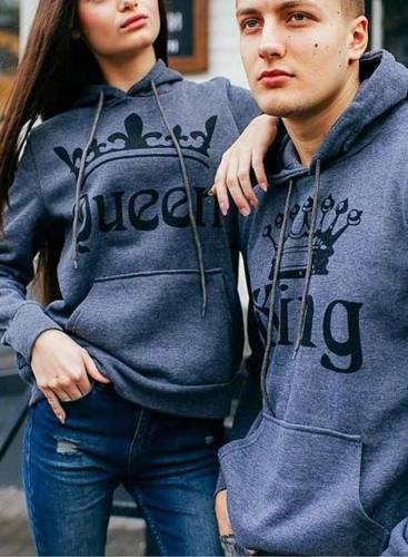 Couple's Hoodies Solid Pocket Drawstring Gray King & Queen Hoodies